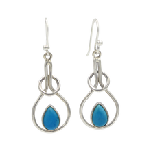 Load image into Gallery viewer, Sterling silver tear-drop earring within interlocked rings