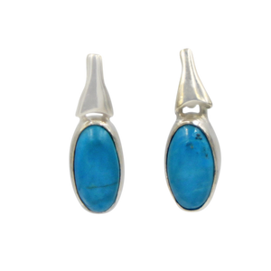 Drop Earrings Turquoise with a Silver Stud Fitting