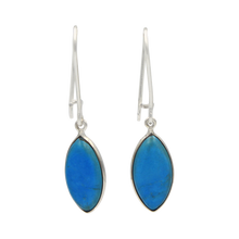 Load image into Gallery viewer, Handcrafted sterling silver large lens shaped earring with a handpicked beautiful cabochon Turquoise gemstone.