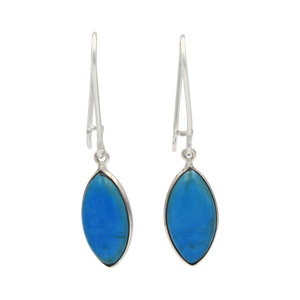 Handcrafted sterling silver large lens shaped earring with a handpicked beautiful cabochon Turquoise gemstone.