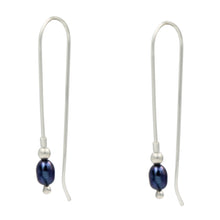 Load image into Gallery viewer, A lovely sterling silver long drop wire earring with a beautiful Grey Pearl