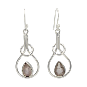 Sterling silver tear-drop earring within interlocked rings