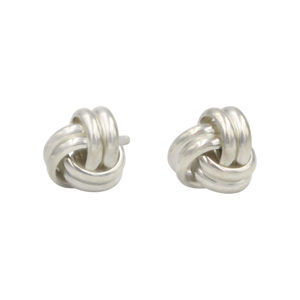 Plain Silver Two Wire Love Knot Stud Earring