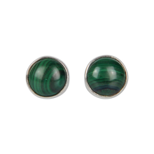 Load image into Gallery viewer, Simple sterling Silver Stud Earrings with a Malachite Cabochon Stone for Daily Wear