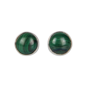 Simple sterling Silver Stud Earrings with a Malachite Cabochon Stone for Daily Wear