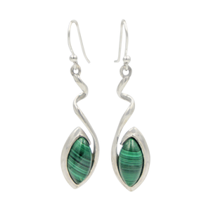 Swirl Twist Long Drop Earring with a beautiful lens shaped natural crystal stone