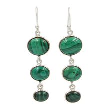 Load image into Gallery viewer, Handcrafted sequential drop earring with falling oval shaped gemstones
