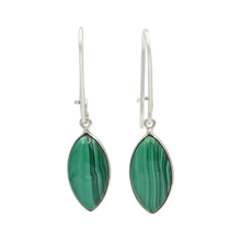 Load image into Gallery viewer, Handcrafted sterling silver large lens shaped earring with a handpicked beautiful cabochon Malachite gemstone.