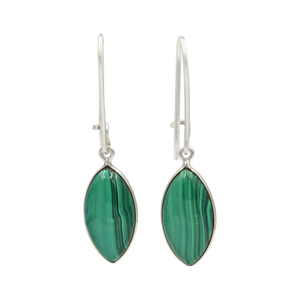Handcrafted sterling silver large lens shaped earring with a handpicked beautiful cabochon Malachite gemstone.