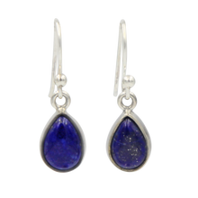 Load image into Gallery viewer, Classic tear-drop Sundari earrings with a plain sterling silver surround
