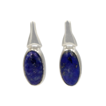 Load image into Gallery viewer, Drop Earrings Lapis Lazuli with a Silver Stud Fitting
