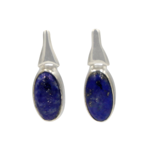 Drop Earrings Lapis Lazuli with a Silver Stud Fitting