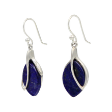 Load image into Gallery viewer, NATURAL  GEMSTONE  STERLING SILVER LEAF DESIGN DANGLE EARRINGS