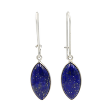Load image into Gallery viewer, Handcrafted sterling silver large lens shaped earring with a handpicked beautiful cabochon Lapis Lazuli gemstone.