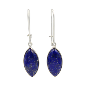 Handcrafted sterling silver large lens shaped earring with a handpicked beautiful cabochon Lapis Lazuli gemstone.