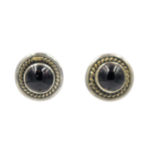 Load image into Gallery viewer, Half Sphere gemstone stud earrings with a handcrafted sterling silver surround