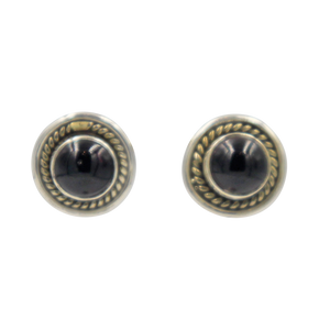 Half Sphere gemstone stud earrings with a handcrafted sterling silver surround