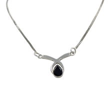 Load image into Gallery viewer, Simple Celtic Necklace with a faceted Black Onyx gemstone