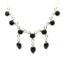 Load image into Gallery viewer, Sterling Silver Victorian Necklace with 10 faceted gemstones