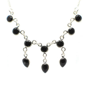 Sterling Silver Victorian Necklace with 10 faceted gemstones