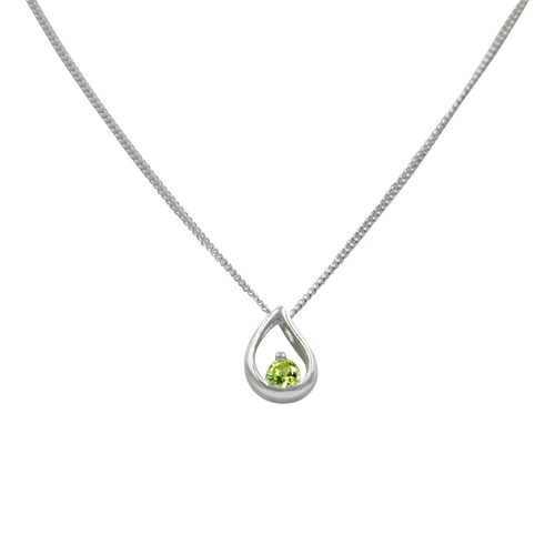 Teardrop sterling silver necklace with a faceted Mint Green  Cubic Zirconia