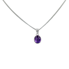 Load image into Gallery viewer, Slight oval simple cabochon Amethyst stone set on a thin bezel setting