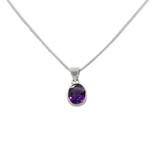 Load image into Gallery viewer, Cute oval faceted Amethyst pendant set on a deep bezel setting