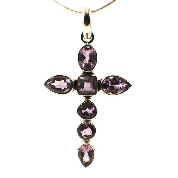 Pendant Amethyst Cross @Magnet Click Chain