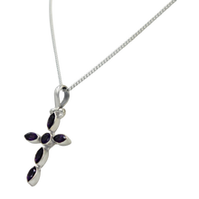 Load image into Gallery viewer, Amethyst Cross pendant presented on Sterling silver Magnet Click Chain