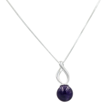Load image into Gallery viewer, Twist shaped pendant with a full sphere Amethyst gemstone