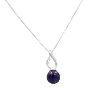 Twist shaped pendant with a full sphere Amethyst gemstone