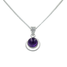 Load image into Gallery viewer, Round Sterling Silver Pendent with a Amethyst gemstone
