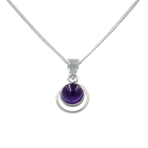 Round Sterling Silver Pendent with a Amethyst gemstone