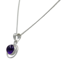 Load image into Gallery viewer, Round Sterling Silver Pendent with a Cabochon Amethyst gemstone