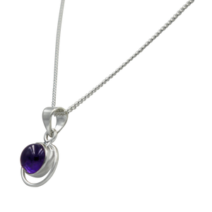 Round Sterling Silver Pendent with a Cabochon Amethyst gemstone