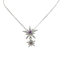 Load image into Gallery viewer, Sterling Silver Twain Sunray Pendant with a faceted Amethyst gemstones