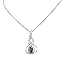 Load image into Gallery viewer, Double Infinity Pendant with a faceted Amethyst