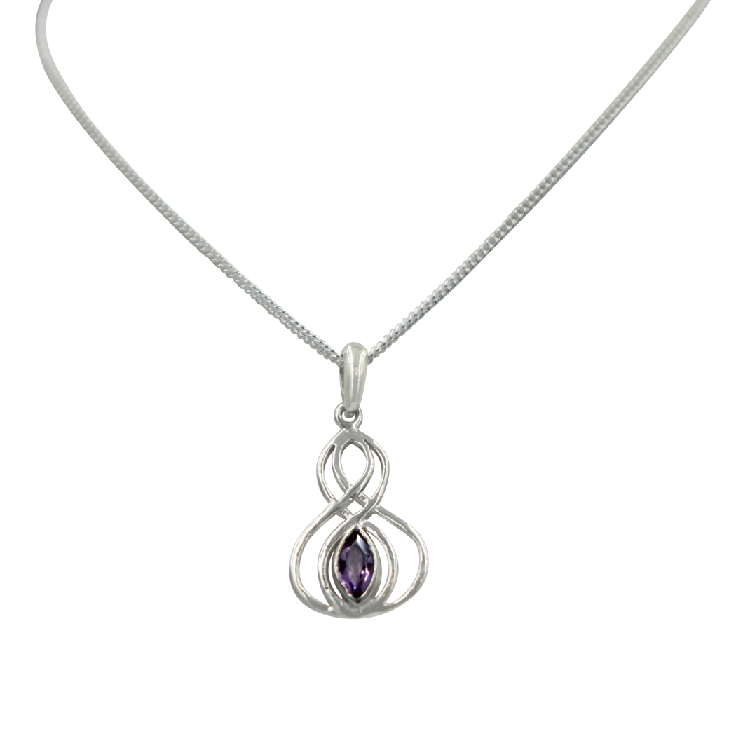 Double Infinity Pendant with a faceted Amethyst