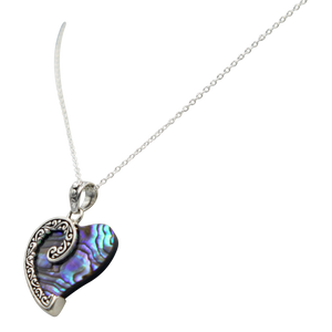 Stunning Large Sterling Silver Heart Pendant with  a Natural Seashell