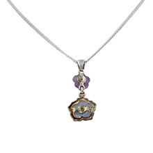 Load image into Gallery viewer, Five Petal Mother of Pearl and Amethyst hand carved flower Pendant back