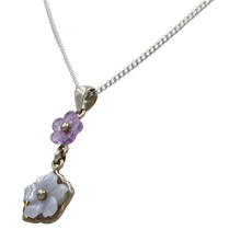 Load image into Gallery viewer, Five Petal Mother of Pearl and Amethyst hand carved flower Pendant