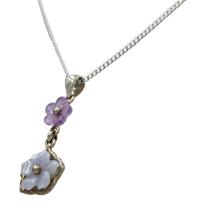 Five Petal Mother of Pearl and Amethyst hand carved flower Pendant