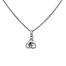 Load image into Gallery viewer, Celtic pendant with a half sphere faceted Cubic Zirconia