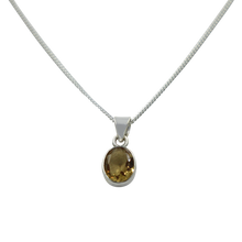 Load image into Gallery viewer, Cute oval faceted Citrine pendant set on a deep bezel setting