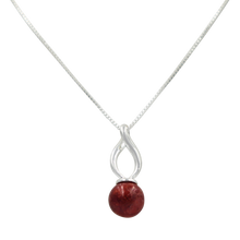 Load image into Gallery viewer, Twist shaped pendant with a full sphere natural Coral