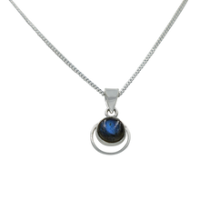 Load image into Gallery viewer, Round Sterling Silver Pendent with a Labradorite Cabochon gemstone