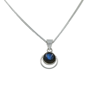 Round Sterling Silver Pendent with a Labradorite Cabochon gemstone