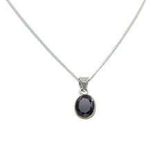 Load image into Gallery viewer, Cute oval faceted Garnet pendant set on a deep bezel setting