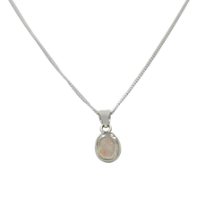 Load image into Gallery viewer, Cute oval faceted Rainbow Moonstone pendant set on a deep bezel setting