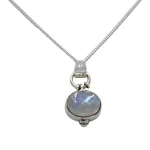 Oval Shaped simple but elegant pendant with a cabochon Moonstone